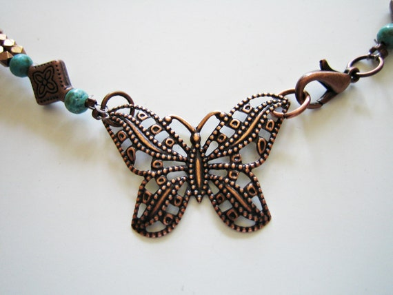 Filigree Butterfly and Recycled Glass Necklace