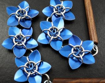 Pair of Blue Cascading Scale Flower Hair Sticks