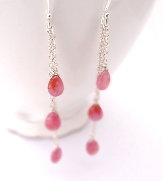 Pink Sapphire Earrings long modern pink gemstone drops wire wrapped in sterling silver september birthday autumn fashion
