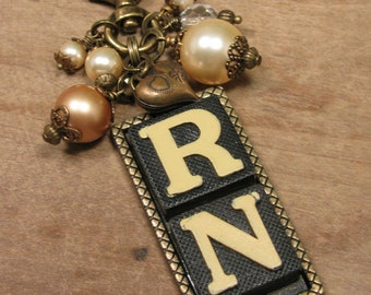 Upcycled Game Pieces - Anagram Necklace - RN, Nursing with Mixed Pearl Beadwork and Heart Charm