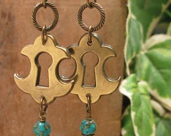 Upcycled Keyhole Escutcheon Leverback Earrings - December Birthstone - Fancy Shaped Brass Escutcheon Dangles, Genuine Turquoise Beadwork