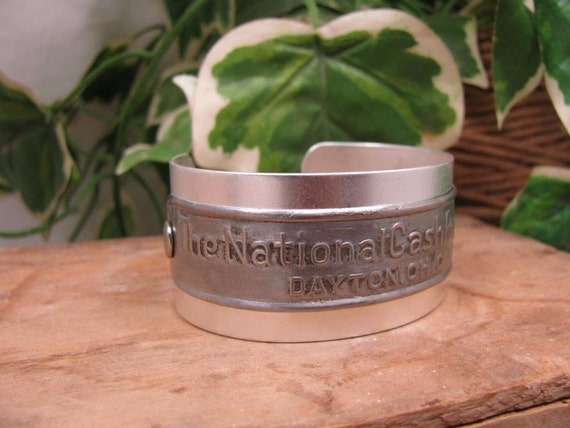Upcycled Jewelry - Genuine National Cash Register Name Plate Cuff Bracelet