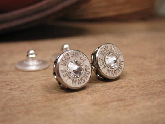 bullet jewelry nickel silver bullet casing stud earrings