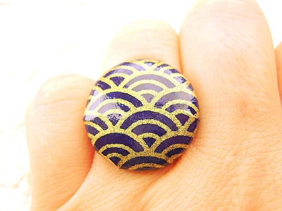 Japanese Wave Ring Japanese Yuzen Chiyogami Paper Ring Small