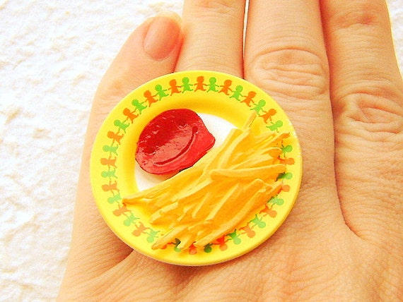 Food Ring French Fries Ketchup  Miniature Food Jewelry