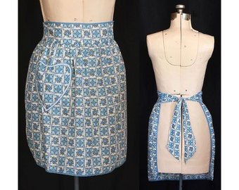 Vintage 60s Pocket Full of Sweet Blue Posies Kitchen Apron