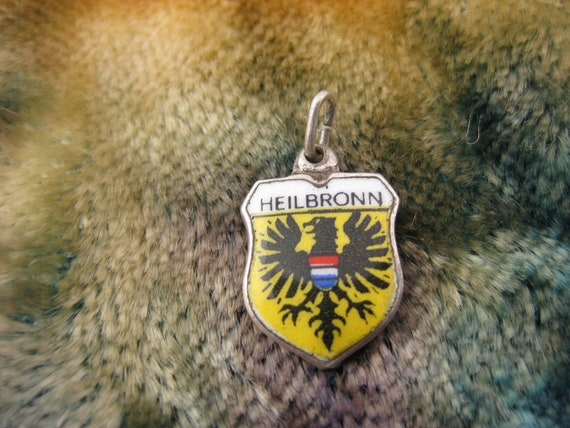 Charm - Travel Shield - Heilbronn - Silver Charm - Germany - Federal Eagle - Enamel - Coat of Arms - Remembrance - Travelers.