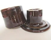 Ceramic French Butter Keeper Deep Shiny Brown