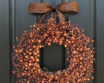 Wreaths - Pumpkin Pie - Fall Berry Wreath - Harvested Berries - Orange Berry Wreaths - Autumn Decor - Front Door Display