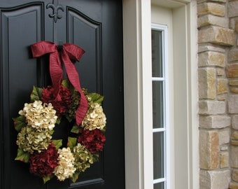 HOLIDAY Hydrangea Wreaths, Wreaths, Holiday Wreaths, Christmas Wreath, Christmas Hydrangeas, Front Door Wreaths, Holiday Home Decor