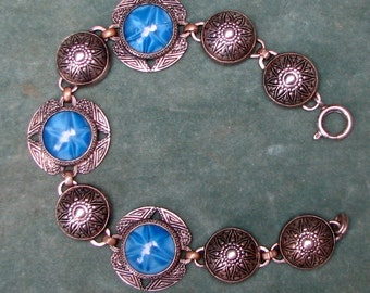 Vintage Link Bracelet with Silver Beads and Blue Marbled Glass Star Stones