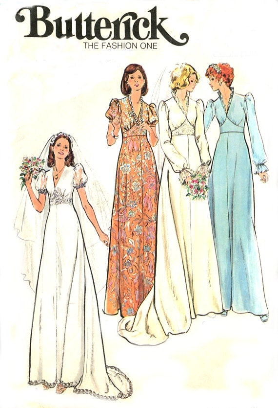 Wedding Gown Dress Sewing Pattern Butterick 3774 Vintage
