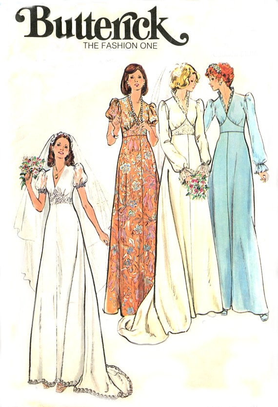 Wedding gown dress sewing pattern butterick 3774 vintage for Wedding dress patterns vintage