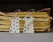 Little Sterling Silver Dress Earrings, Swirl Dresses, Chiseled Design, Handmade Jewelry