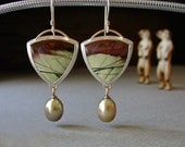 Jasper Earrings, Dangle Earrings, Pearl Drops, Imperial Jasper, Browns and Greens, Sterling Silver Earrings w/ 14kt Gold