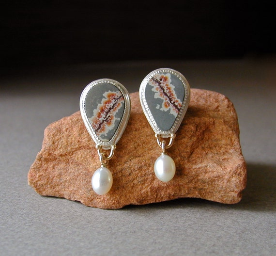 Fall Jewelry, Sterling Silver Earrings, Sonoran Dendritic Ryolite, Pearl Drops, 14kt Gold Posts, Handmade Earrings