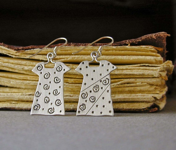 Little Sterling Silver Dress Earrings, Swirl Dresses, Chiseled Design, Handmade Jewelry