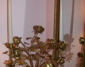 RARE Italian TOLE candelabra - Cabbage ROSES - So French Shabby  - Chic - Hard to find