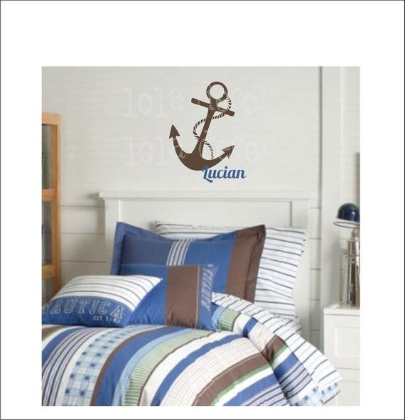 anchor nautical vinyl decal ocean theme bathroom by loladecor