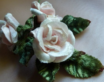 Small Pink Velvet Millinery Rose for Corsages, Floral Supply, Crafting MF 129
