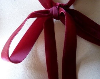 """Velvet Ribbon 7/8"""" wide in Cherry Red for Bridal, Millinery, Jewelry or Costume Design VL 156"""