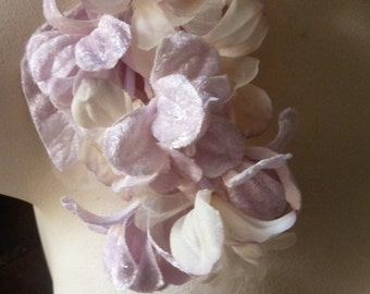 Pinky Lilac Velvet & Organza Flowers  for Bridal, Headbands, Hats, Sashes, Boutonnieres, Corsages. MF32