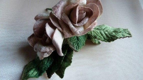 Small Mauve Velvet Millinery Rose Old Stock for Corsages, Floral Supply, Crafting MF 129