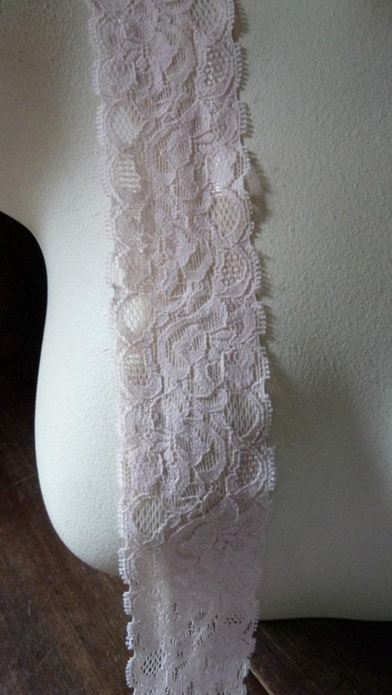 Stretch Lace in Pink Blush for Headbands, Garters, Costume Design  STR 3012pkbl