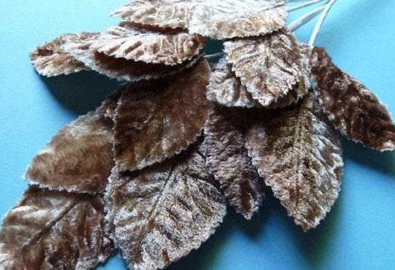 Velvet Leaves in Mocha for Bridal, Headbanfs,  Millinery Design, Floral Supply, ML 36