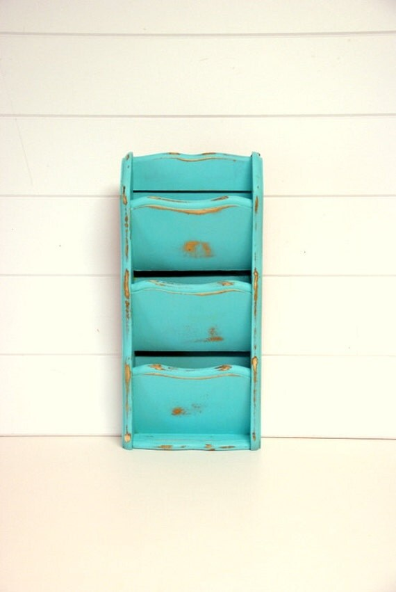 Shabby Flea Market Chic Mail Sorter in Turquoise by speckleddog on Etsy