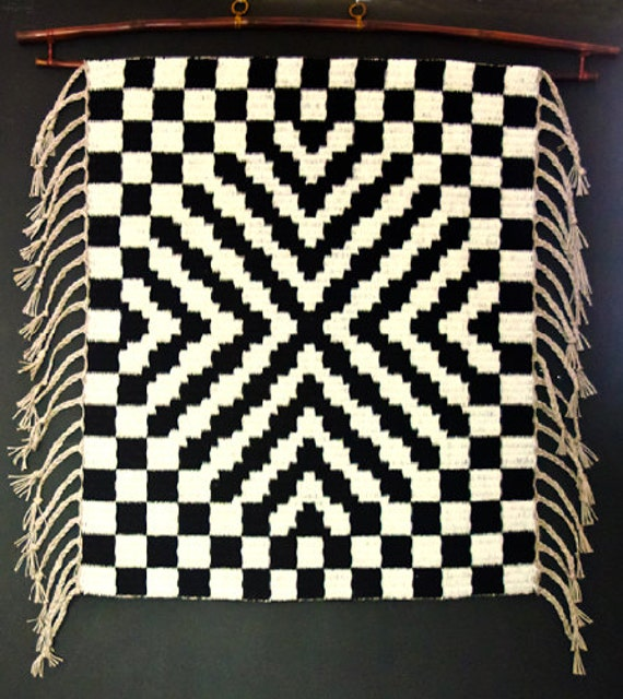 Handwoven Rug Or Wall Hanging 3D Black And White Geometric