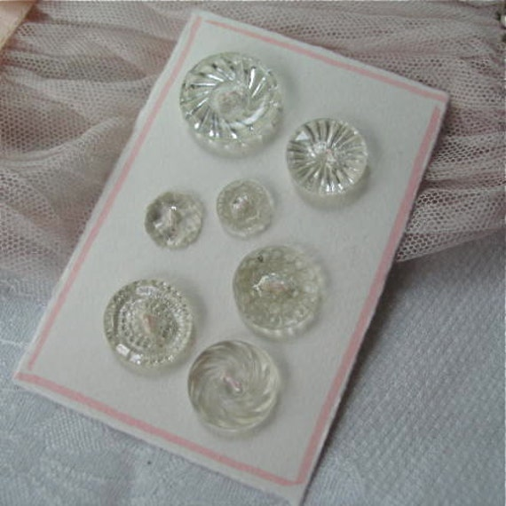 Vintage Glass Button Collection of 7