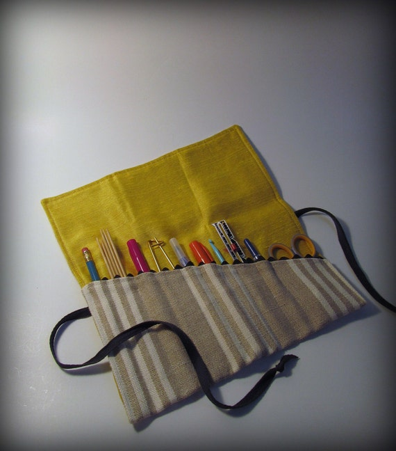 Utensil and Pencil Roll - Linen Stripes with Yellow Silk