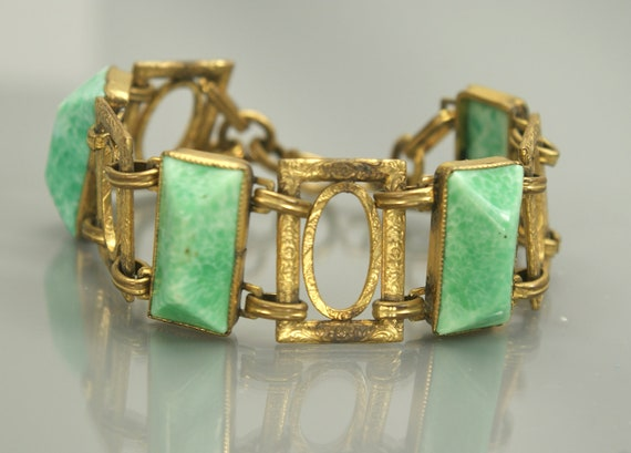 Antique Large Art Deco Green Glass Link Bracelet