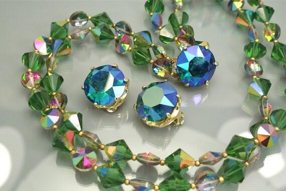 Vintage Bold Green Iridescent Crystal Necklace Set 2 Strands