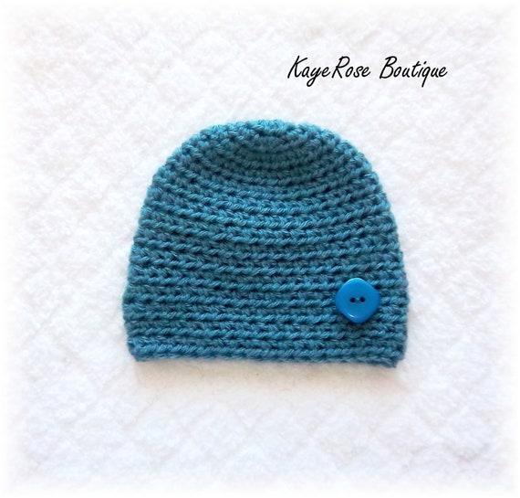 Newborn Baby Boy Crochet Button Hat Blue
