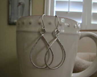 1 1/2 Inch Sterling Silver Teardrop Hoop Earrings 16g