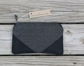 black herringbone waxed canvas foldover clutch utility bag zippered purse rustic wedding