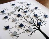 8x10 Tree of 3D Mini Hearts. Wedding. Anniversary. Special Occasion. YOUR CHOICE of Colours. Personalized at Bottom - Made to Order