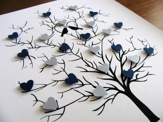 8x10 Tree of 3D Mini Hearts. Wedding, Anniversary. Can Be Personalized. YOUR CHOICE of Colors. UNmatted/UNframed. Made to Order