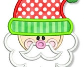 CUTE SANTA Applique 4x4 5x7 6x10 7x11 Machine Embroidery Design Christmas  INSTANT Download