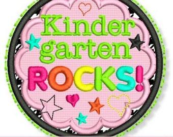 KINDERGARTEN ROCKS  Applique Circle Scallop 4x4 5x7 6x10 Machine Embroidery Design school kinder  INSTANT Download