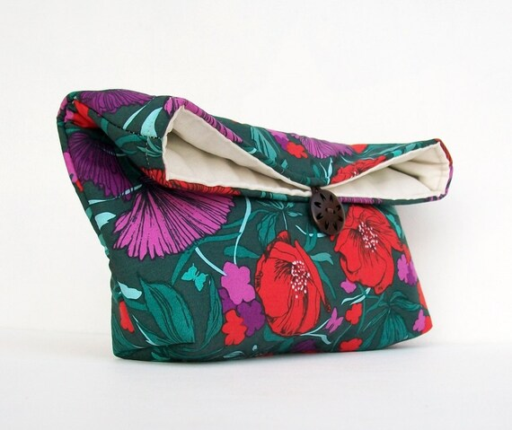 Handmade Makeup Bag, Bridesmaid Gift, Red and Purple Flowers on Teal Clutch Purse, Great for Travel, Gift Under 25, Bridesmaid Clutch