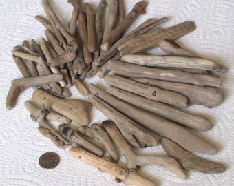 59 Driftwood Sea Wood Beads Sticks Top Drilled 1mm and 1.5mm holes Supplies (1596)