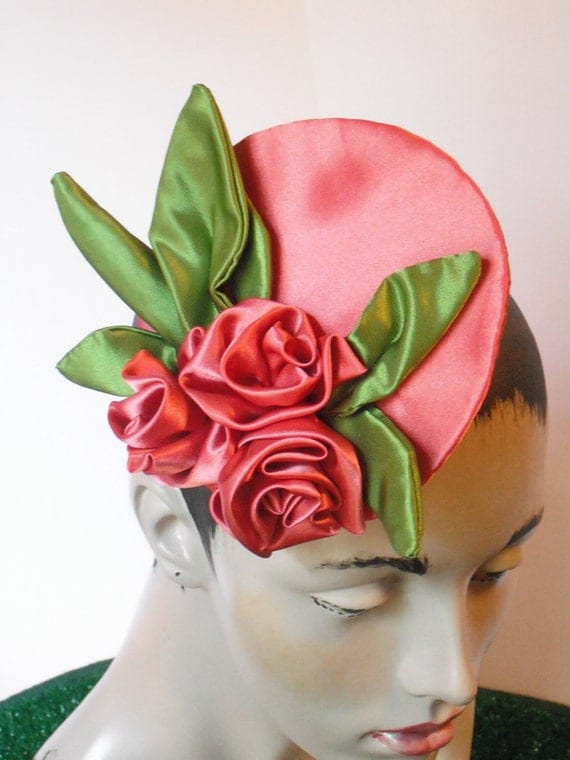 Coral Satin Rose Fascinator with moss green leaves