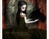 "5x7 Premium Art Print ""Lenore"" Small Size Giclee Print - Lowbrow Art Edgar Allen Poe The Raven Dark Story"