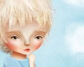 "5x7 Fine Art Print - ""Sampson"" - Blond Little Boy and his train - Child's Bedroom Artwork - Jessica Grundy Print"