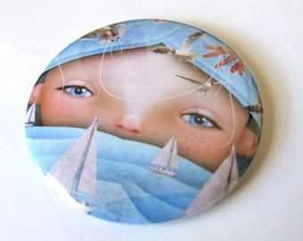 """Pocket Mirror """"Swell"""" Round 2 1/4 inches - Lowbrow Artwork Girl with Blue Ocean Waves Boats and Birds"""