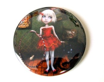 """Pocket Mirror """"Valetto"""" 2 1/4""""  Featuring Print of Original Artwork - Circus Performer Girl in Red with Black Kitten"""