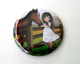 """Pocket Mirror """"Kate"""" - Little Girl and her Horse - Small Round 2.25"""" Art Mirror Featuring Jessica Grundy Artwork"""